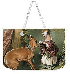 Girl Feeding A Deer Weekender Tote Bag