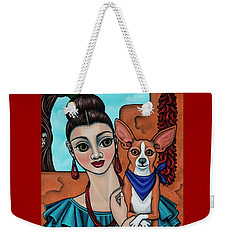 Girl Holding Chihuahua Art Dog Painting  Weekender Tote Bag