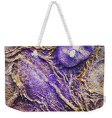 Weekender Tote Bag featuring the mixed media Girl In Purple by Angela Stout