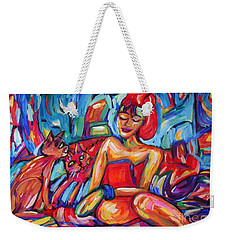 Girl In Red Towel And Cats Weekender Tote Bag
