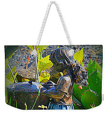 Weekender Tote Bag featuring the photograph Girl In The Garden by Lori Seaman