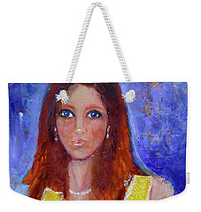 Weekender Tote Bag featuring the painting Girl In Yellow Dress by Claire Bull
