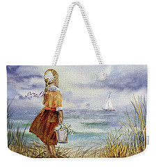 Weekender Tote Bag featuring the painting Girl Ocean Shore Birds And Seashell by Irina Sztukowski