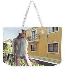 Girl On Balcony Weekender Tote Bag