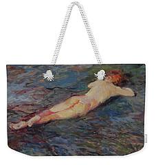 Girl On Volcanic Beach, Spain Weekender Tote Bag