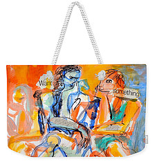 Weekender Tote Bag featuring the painting Girl Talk by Mary Schiros