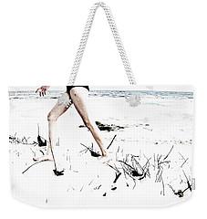Girl Walking On Beach Weekender Tote Bag