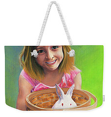 Weekender Tote Bag featuring the painting Girl With A Bunny by Jeanette French