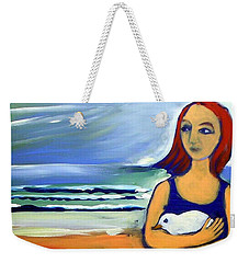 Weekender Tote Bag featuring the painting Girl With Bird by Winsome Gunning