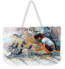 Weekender Tote Bag featuring the painting Girl With Birds by Kovacs Anna Brigitta