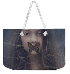 Girl With Butterfly Over Lips Weekender Tote Bag