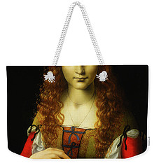 Weekender Tote Bag featuring the painting Girl With Cherries by Giovanni De Predis