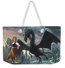 Girl With Dragon Fantasy Weekender Tote Bag by Martin Davey