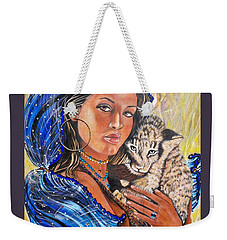 Girl With Lion Cub Weekender Tote Bag