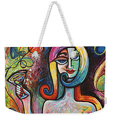 Weekender Tote Bag featuring the painting Girl With Martini Cocktail Abstract by Genevieve Esson