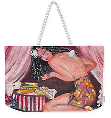 Girl With New Hat Weekender Tote Bag
