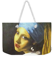 Weekender Tote Bag featuring the painting Girl With Pearl Earring by Jayvon Thomas