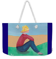 Weekender Tote Bag featuring the painting Girl With Straw Hat by Patricia Cleasby