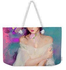 Girl With The Floral Hat Weekender Tote Bag