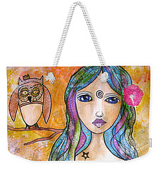 Girl With The Owl  Weekender Tote Bag
