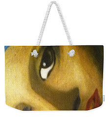 Weekender Tote Bag featuring the painting Girl With The Pearl Earring Close Up by Jayvon Thomas