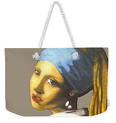Weekender Tote Bag featuring the painting Girl With The Pearl Earring No Background by Jayvon Thomas