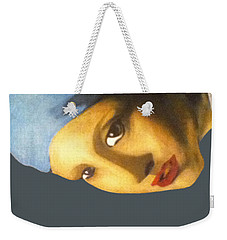 Weekender Tote Bag featuring the painting Girl With The Pearl Earring Side by Jayvon Thomas