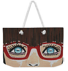 Weekender Tote Bag featuring the painting Girl With The Red Glasses by Kathleen Sartoris