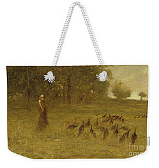 Girl With Turkeys Weekender Tote Bag by George Fuller