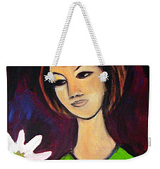 Weekender Tote Bag featuring the painting Girl With White Flower by Winsome Gunning