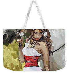 Girl With White Horse Weekender Tote Bag