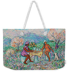 Weekender Tote Bag featuring the painting Girlfriends' Teatime Iv by Xueling Zou