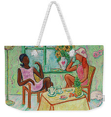 Weekender Tote Bag featuring the painting Girlfriends' Teatime V by Xueling Zou