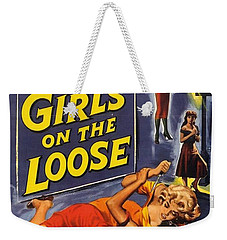Weekender Tote Bag featuring the digital art Girls On The Loose by Reinvintaged