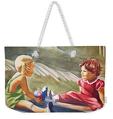 Weekender Tote Bag featuring the painting Girls Playing Ball  by Marilyn Jacobson