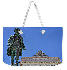 Weekender Tote Bag featuring the photograph Giuseppe Tartini Statue - Piran Slovenia by Stuart Litoff