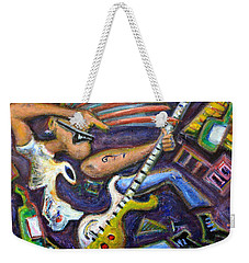 Give Em The Boot - Punk Rock Cubism Weekender Tote Bag by Jason Gluskin