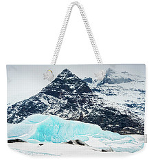 Weekender Tote Bag featuring the photograph Glacier Landscape Iceland Blue Black White by Matthias Hauser