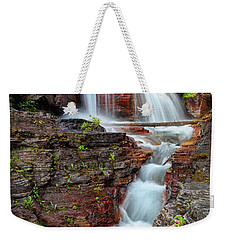 Glacier National Park Waterfall 2 Weekender Tote Bag by Andres Leon