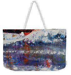 Weekender Tote Bag featuring the painting Glacier Reflections by Walter Fahmy