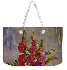 Weekender Tote Bag featuring the painting Gladiolus On Point by Judith Rhue