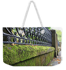 Weekender Tote Bag featuring the photograph Glasgow Moss Fencing by Mary-Lee Sanders