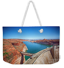 Weekender Tote Bag featuring the photograph Glen Canyon Dam by Anne Rodkin