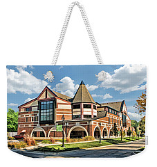 Weekender Tote Bag featuring the painting Glen Ellyn Public Library by Christopher Arndt