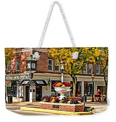 Weekender Tote Bag featuring the painting Glen Ellyn Watering Fountain by Christopher Arndt
