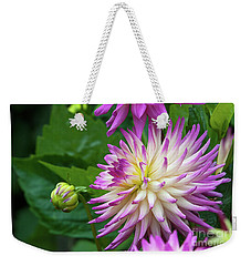 Glenbank Twinkle Dahlia Weekender Tote Bag by Glenn Franco Simmons