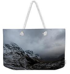 Weekender Tote Bag featuring the digital art Glencoe - Three Sisters by Pat Speirs