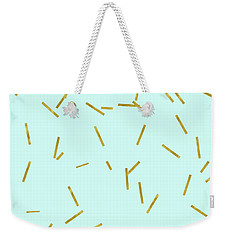 Glitter Confetti On Aqua Gold Pick Up Sticks Pattern Weekender Tote Bag by Tina Lavoie
