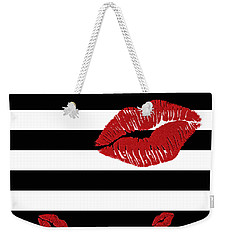 Glitter Red Lips On Black And White Stripes Weekender Tote Bag