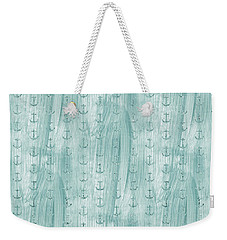 Glittery Mint Anchors Weekender Tote Bag by P S